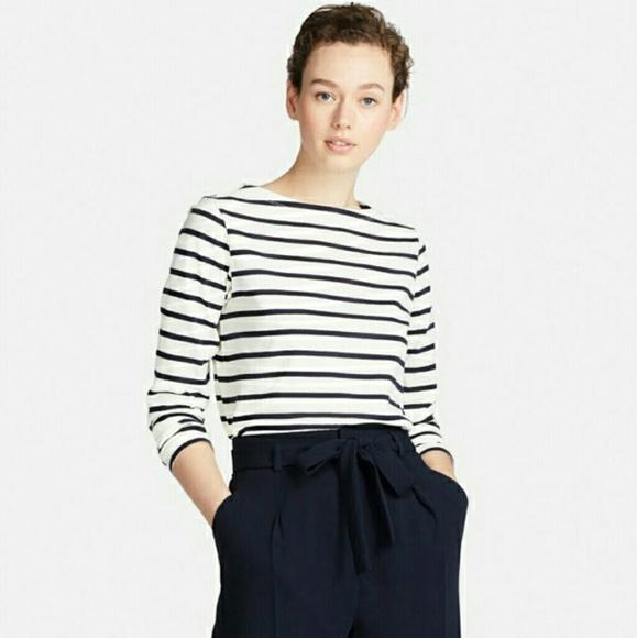 7aae917784 Uniqlo Tops | Striped Boat Neck Long Sleeve Tshirt | Poshmark